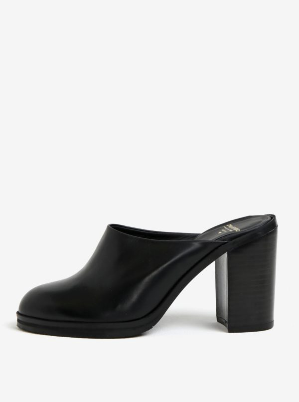 Čierne dámske kožené šľapky na podpätku Royal RepubliQ