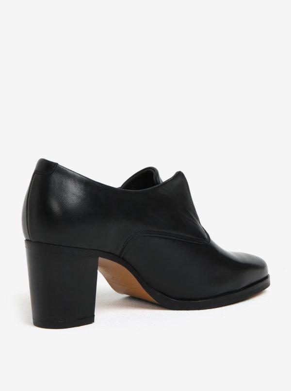 Čierne dámske kožené poltopánky na podpätku Royal RepubliQ