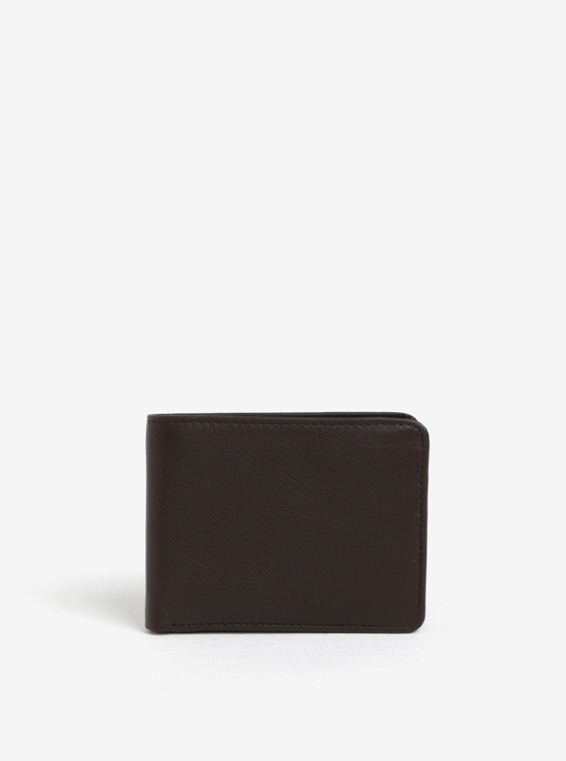 efb0e44a0e6f Tmavohnedá pánska kožená peňaženka GANT