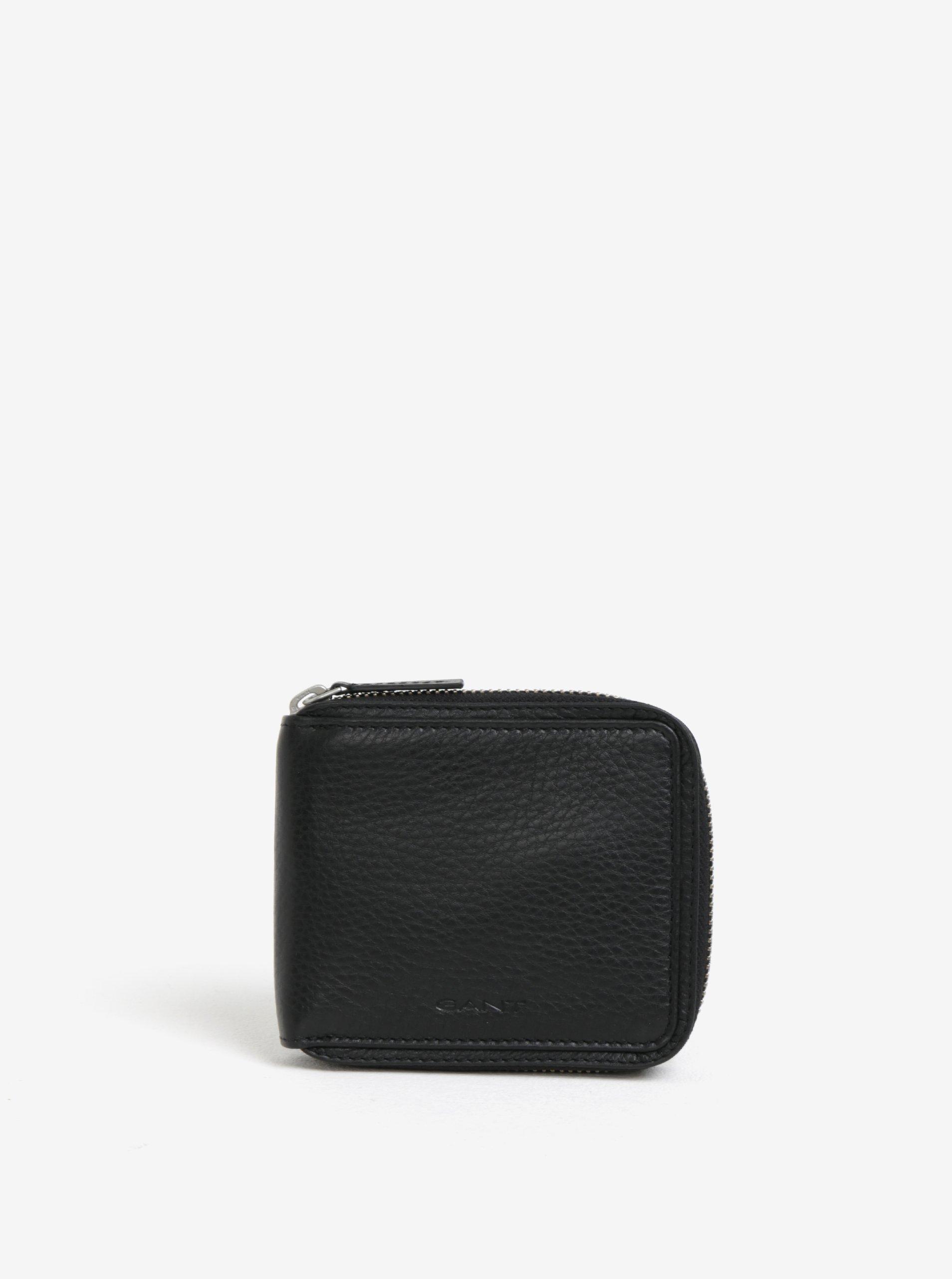 Čierna pánska kožená peňaženka na zips GANT  9e0f9d2d290