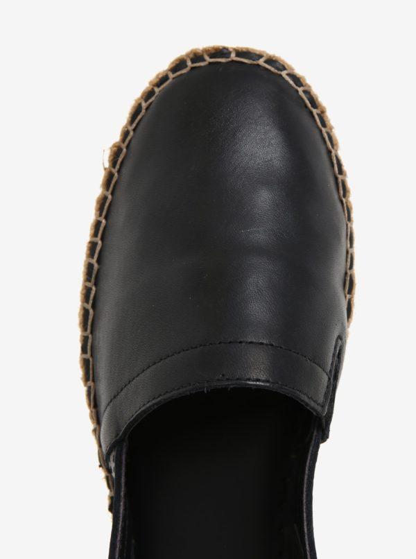 Čierne dámske kožené espadrilky na platforme Royal RepubliQ
