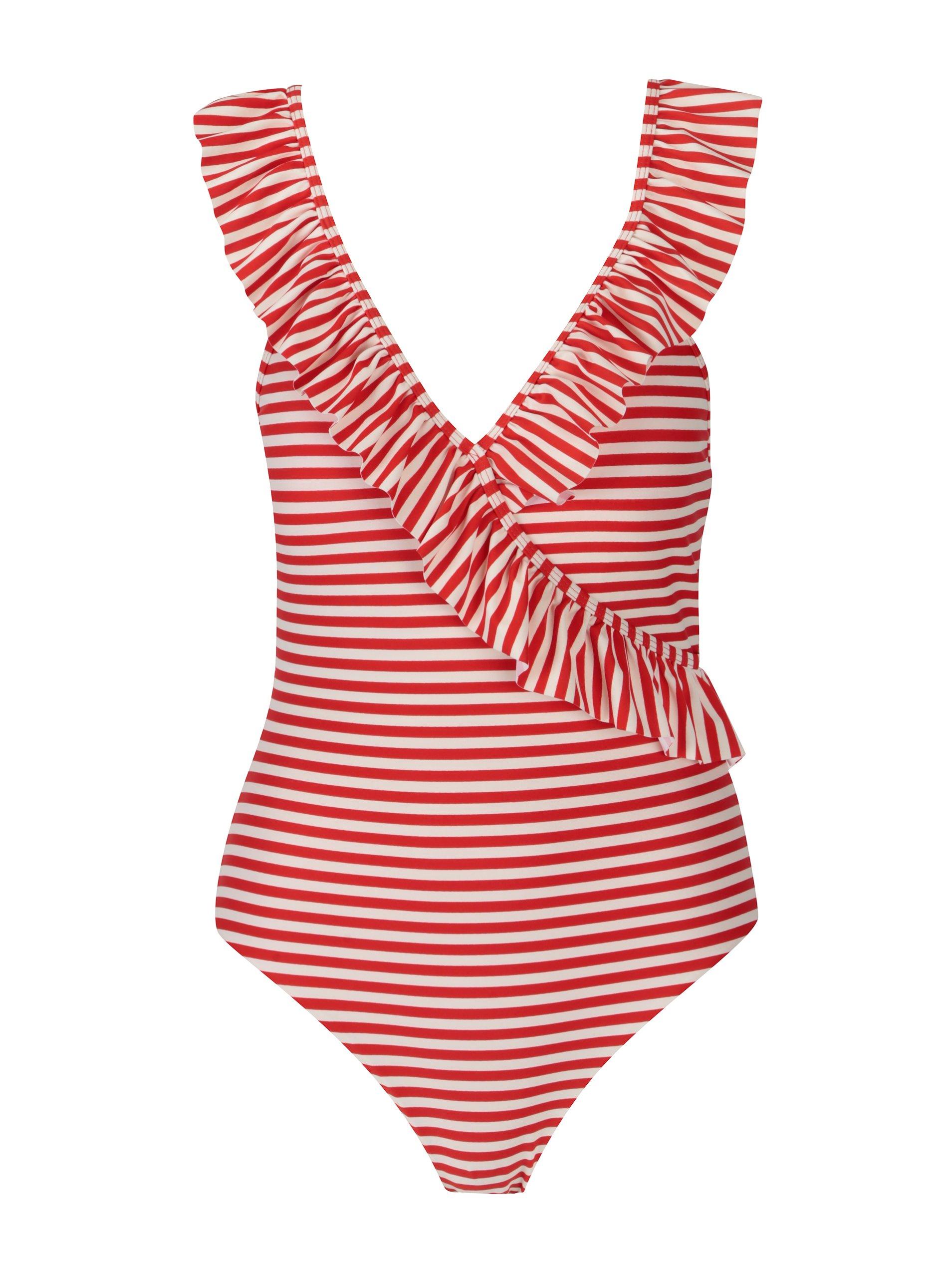 188951757 Krémovo-červené pruhované jednodielne plavky Y.A.S Samui | Moda.sk