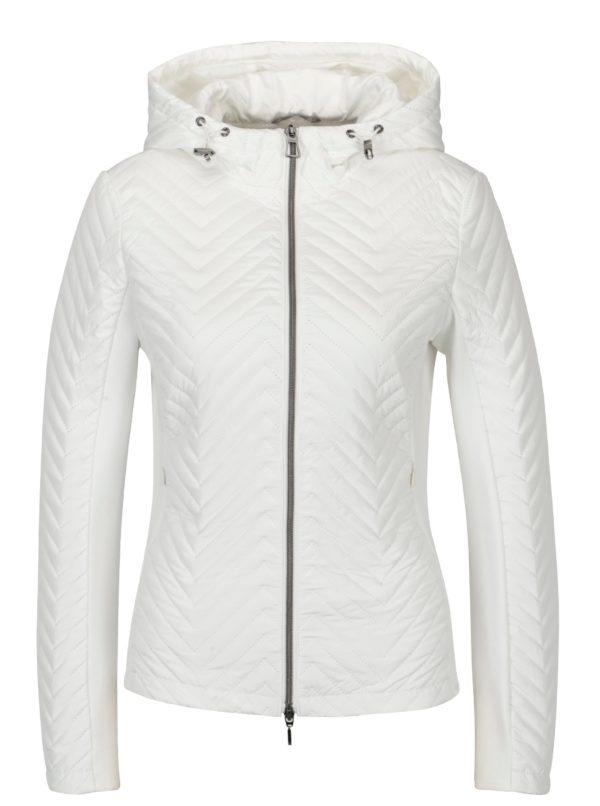 Biela dámska tenká perforovaná bunda s kapucňou Geox