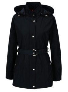 Tmavomodrá dámska bunda s kapucňou a opaskom Geox