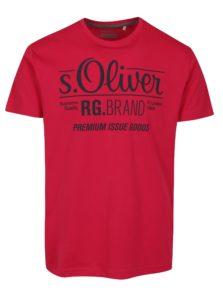 Tmavoružové pánske regular fit tričko s potlačou s.Oliver