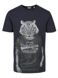 Tmavomodré tričko s potlačou ONLY & SONS Simon