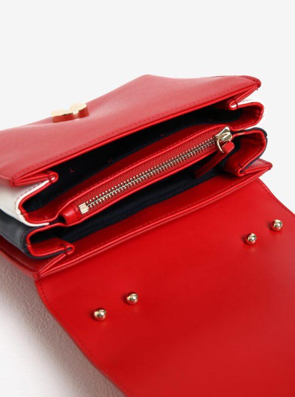 Červená koženková kabelka Tommy Hulfiger