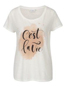 Krémové voľné tričko s potlačou Jacqueline de Yong New Sky