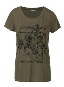 Zelené voľné tričko s potlačou Jacqueline de Yong New Sky