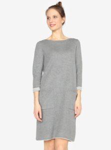 Sivé mikinové šaty s vreckami a 3/4 rukávom s.Oliver
