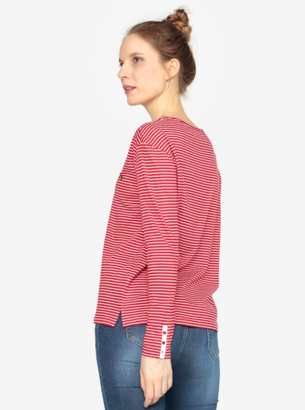Bielo-červené dámske oversize pruhované tričko s.Oliver