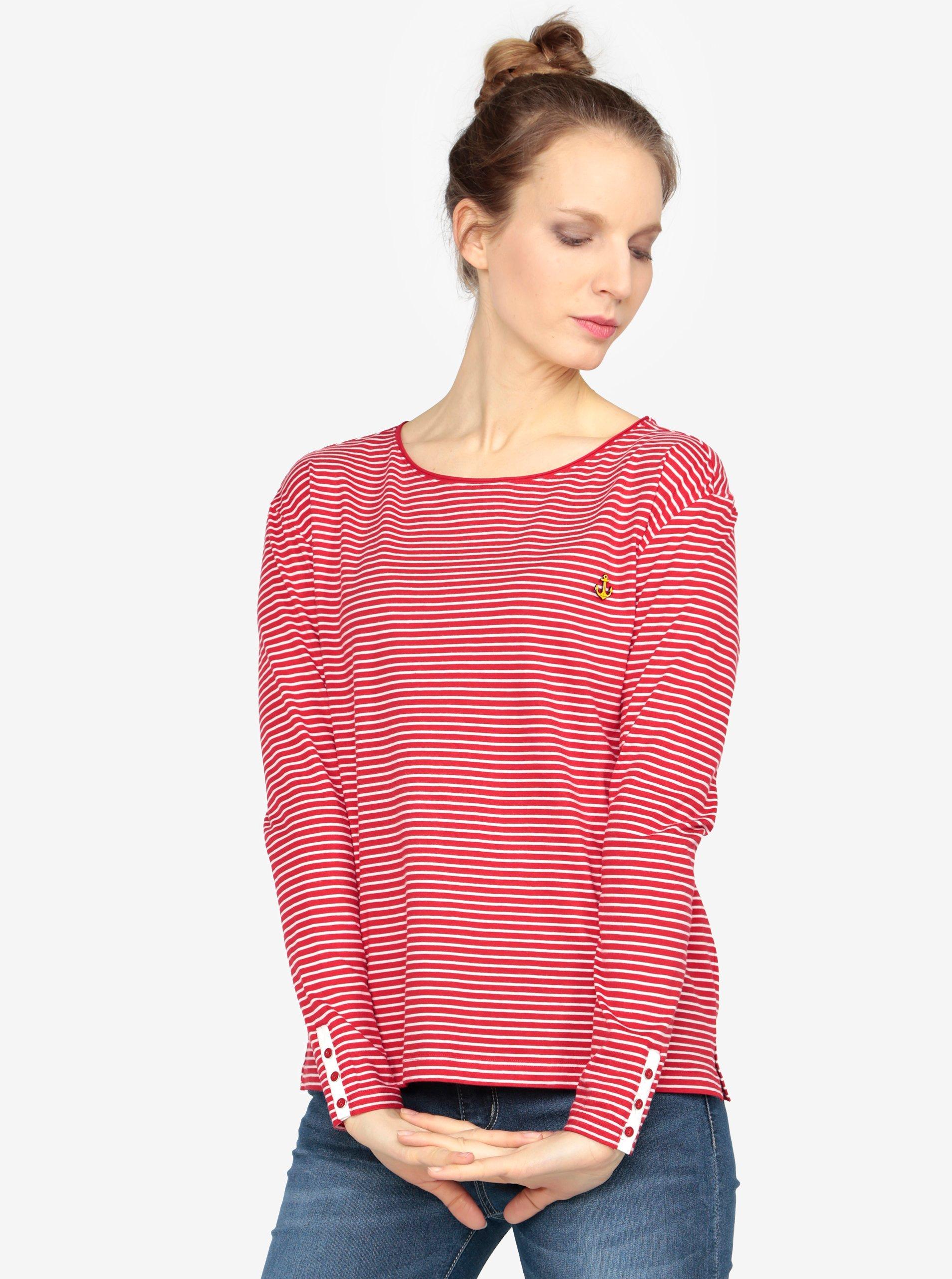 3b1d4dae192f Bielo-červené dámske oversize pruhované tričko s.Oliver