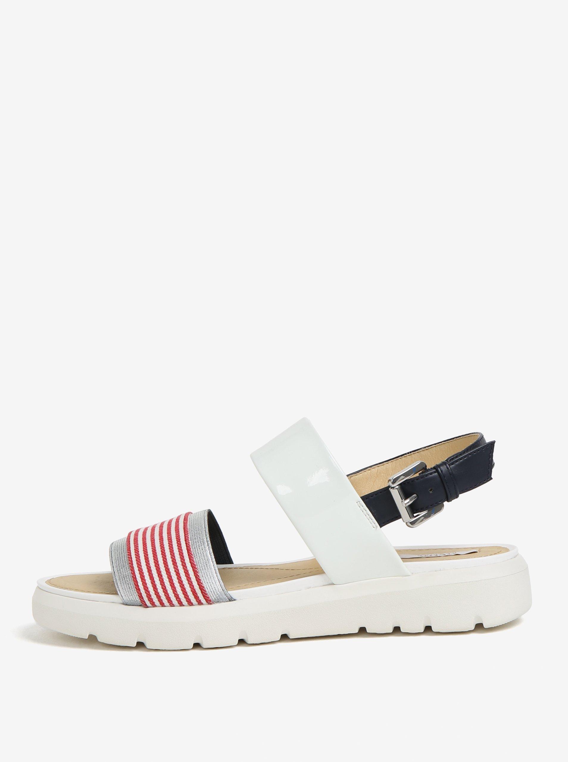 1a4c171976a4 Krémovo-červené pruhované sandále na platforme Geox Amalitha