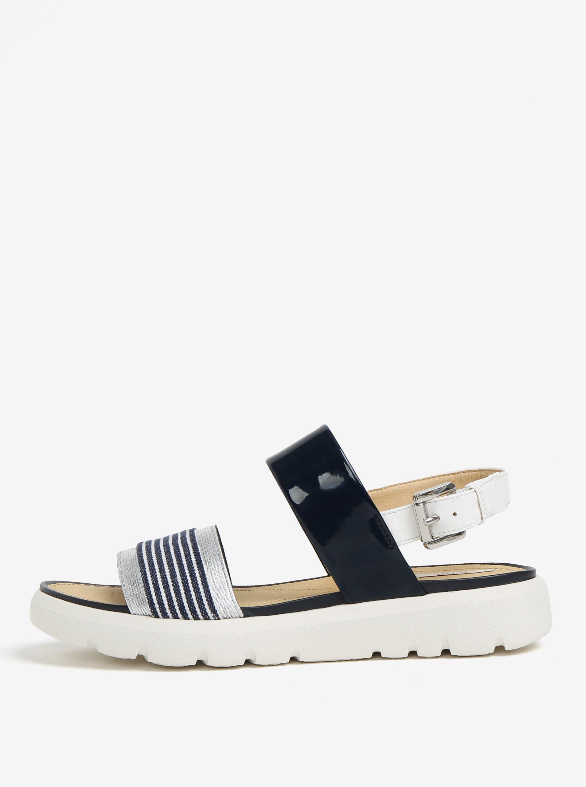 2286a86a9dec Krémovo-modré pruhované sandále na platforme Geox Amalitha
