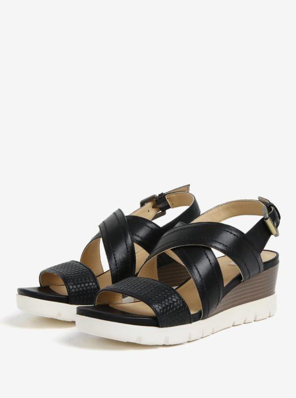 2d6efd504f Čierne kožené sandále na klinovom podpätku Geox Marykarmen