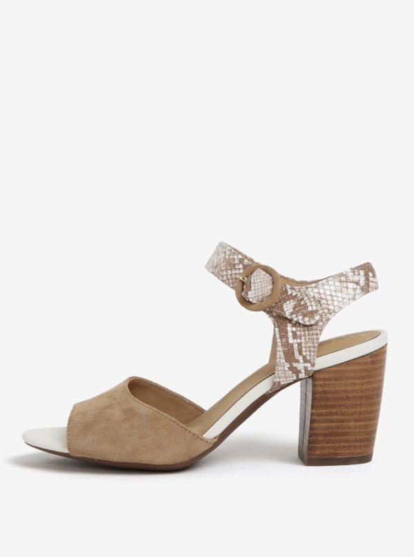Béžové semišové sandále na podpätku Geox Eudora