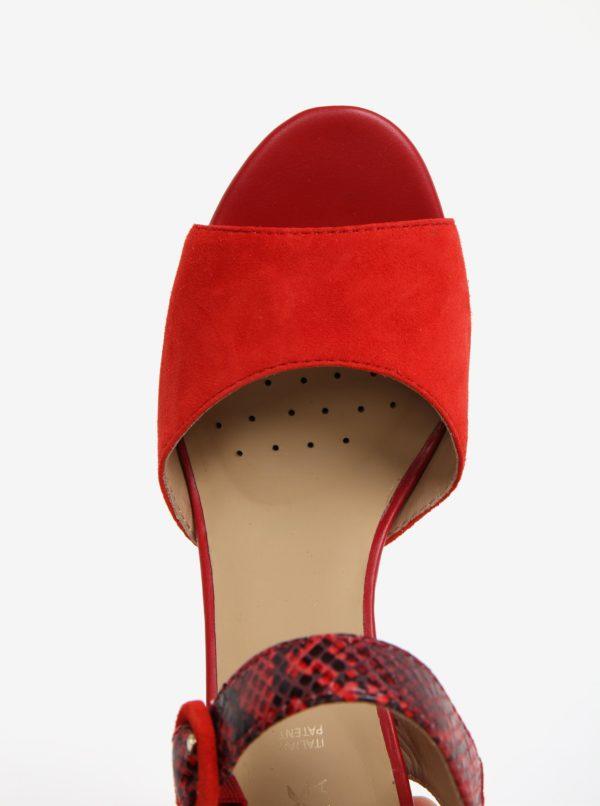 687ef90bda33 Červené semišové sandále na podpätku Geox Eudora
