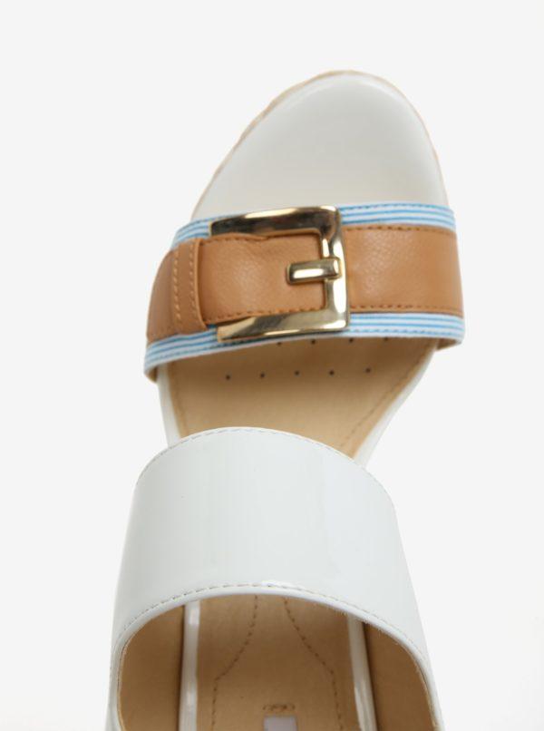 Krémovo-modré vzorované sandále na platforme Geox Janira