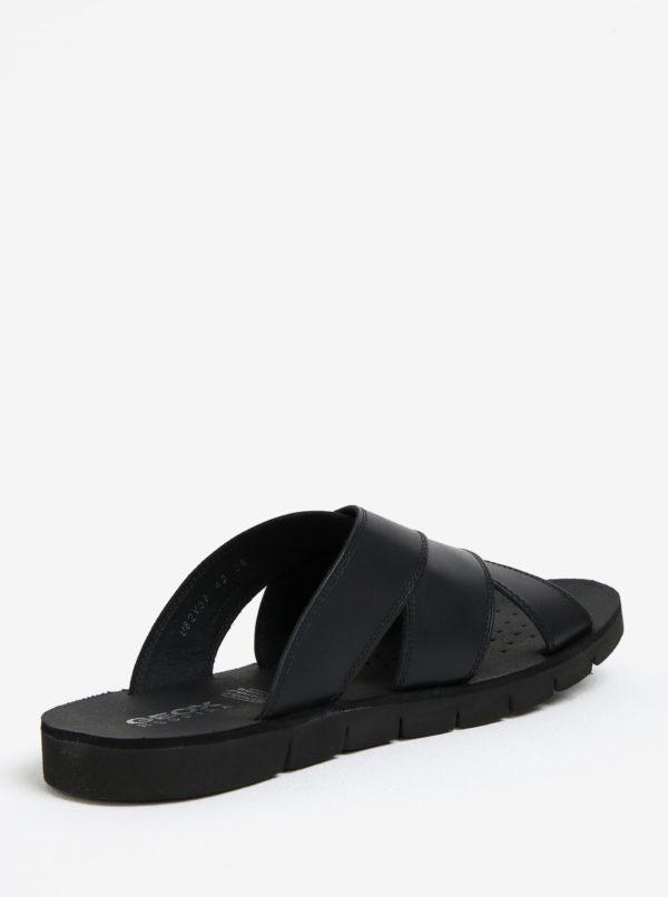 Čierne pánske kožené šľapky Geox Glenn
