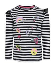 Bielo-čierne dievčenské tričko s dlhým rukávom a volánmi 5.10.15.