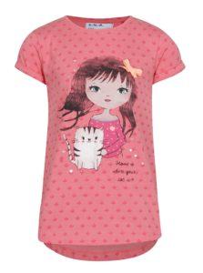 Ružové dievčenské tričko s krátkym rukávom a potlačou 5.10.15.