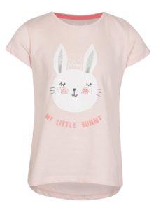 Ružové dievčenské tričko s krátkym rukávom a ligotavou potlačou 5.10.15.