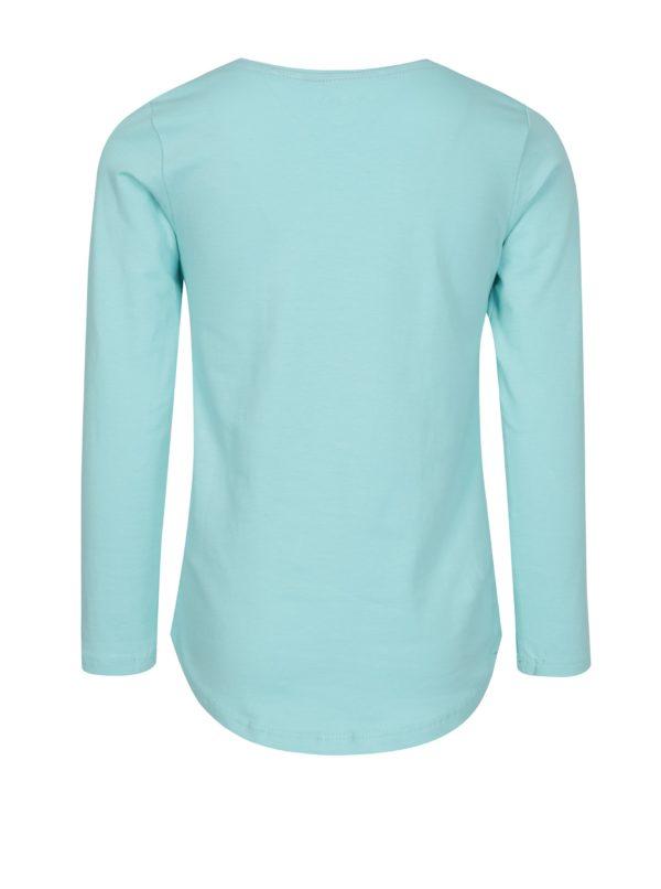 Tyrkysové dievčenské tričko s potlačou a dlhým rukávom 5.10.15.
