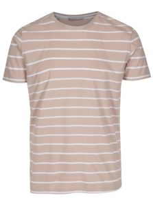 Staroružové pruhované tričko Selected Homme Max