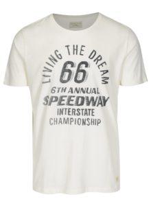 Krémové tričko s potlačou Selected Homme Mike