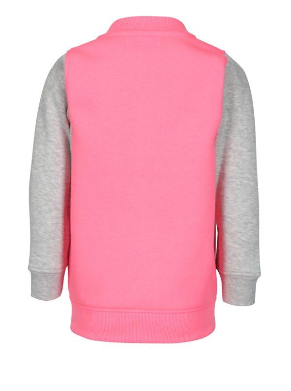 Sivo-ružová dievčenská mikina s nášivkou 5.10.15.