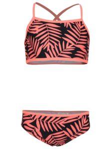 Oranžovo–čierne dievčenské dvojdielne kvetované plavky name it Zummer