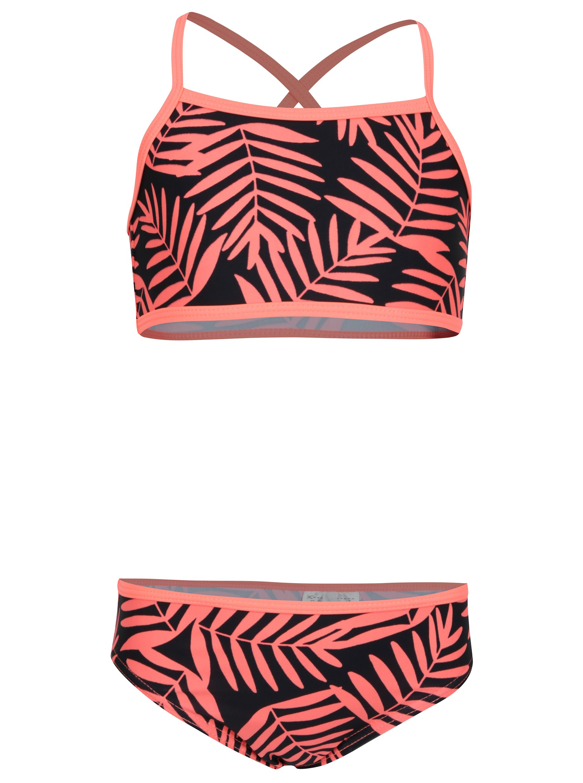 da1c91ab5c Oranžovo–čierne dievčenské dvojdielne kvetované plavky name it Zummer