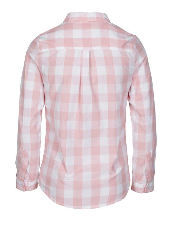 Krémovo-ružová dievčenská kockovaná košeľa s výšivkou 5.10.15.