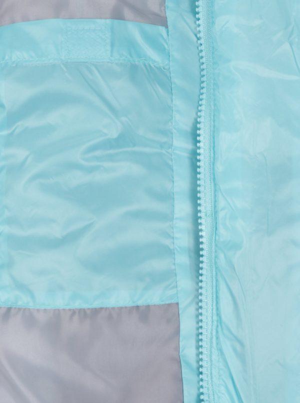 Tyrkysová dievčenská prešívaná vodovzdorná bunda s potlačou 5.10.15.