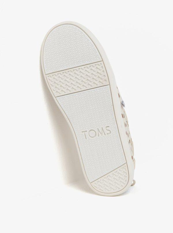 Béžové dievčenské bodkované slip on TOMS