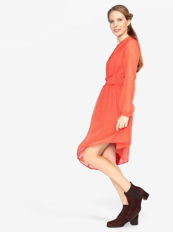 b97eab3b599 Červené asymetrické šaty s dlhým rukávom VERO MODA Lotta