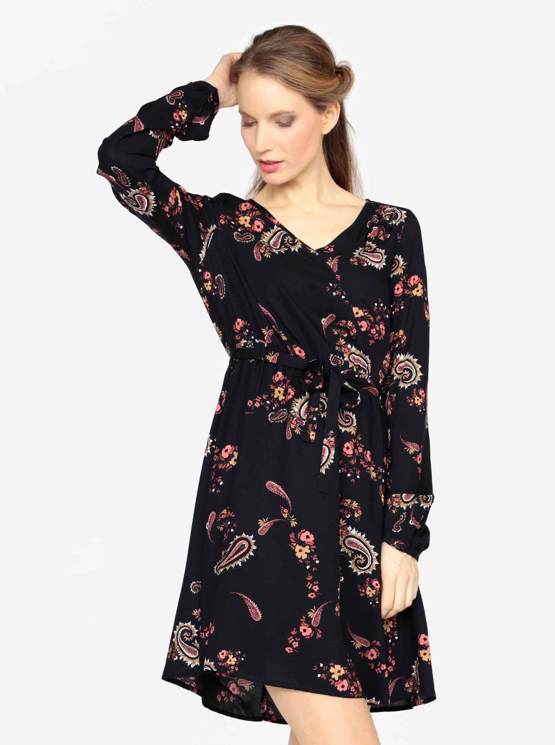 5bc7b28105b6 Tmavomodré vzorované šaty s dlhým rukávom a opaskom VERO MODA Simply ...