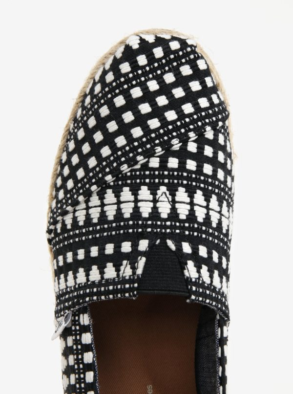 Krémovo-čierne dámske vzorované espadrilky TOMS