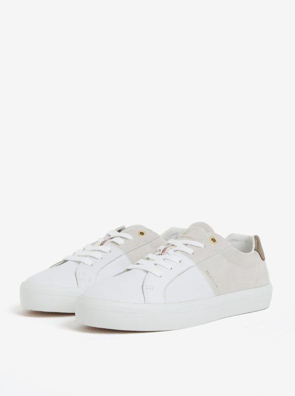 Biele dámske kožené tenisky GANT Mary