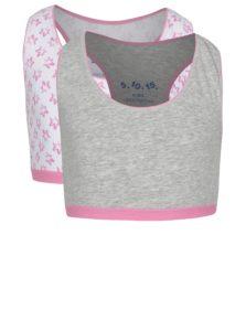 Súprava dvoch dievčenských vzorovaných podprseniek v sivej a ružovej farbe 5.10.15.