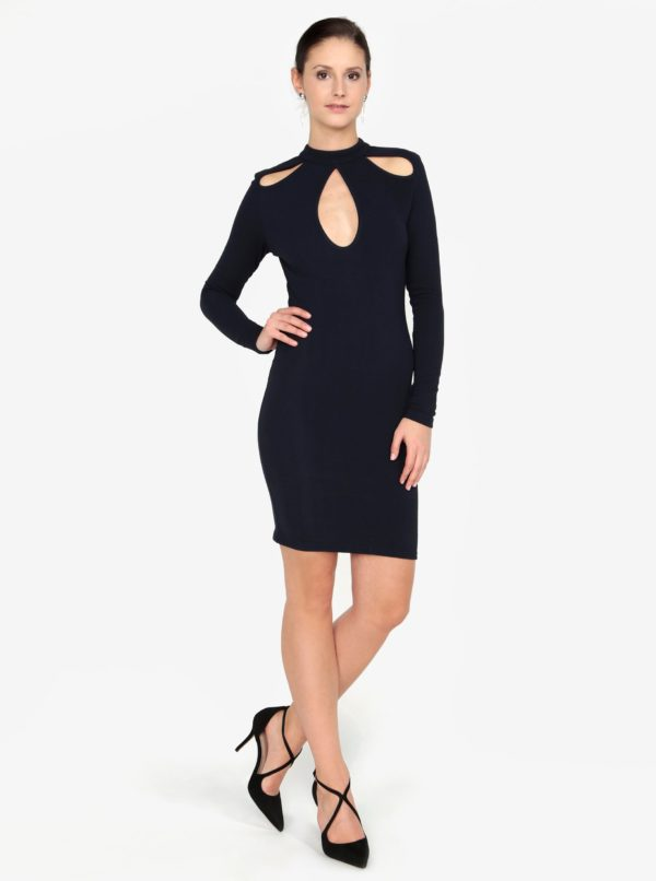 Tmavomodré šaty s prestrihmi AX Paris
