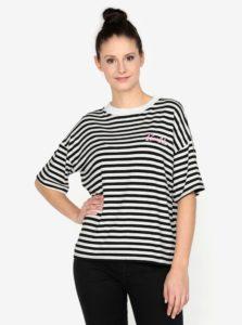 Krémovo–čierne pruhované tričko s výšivkou MISSGUIDED