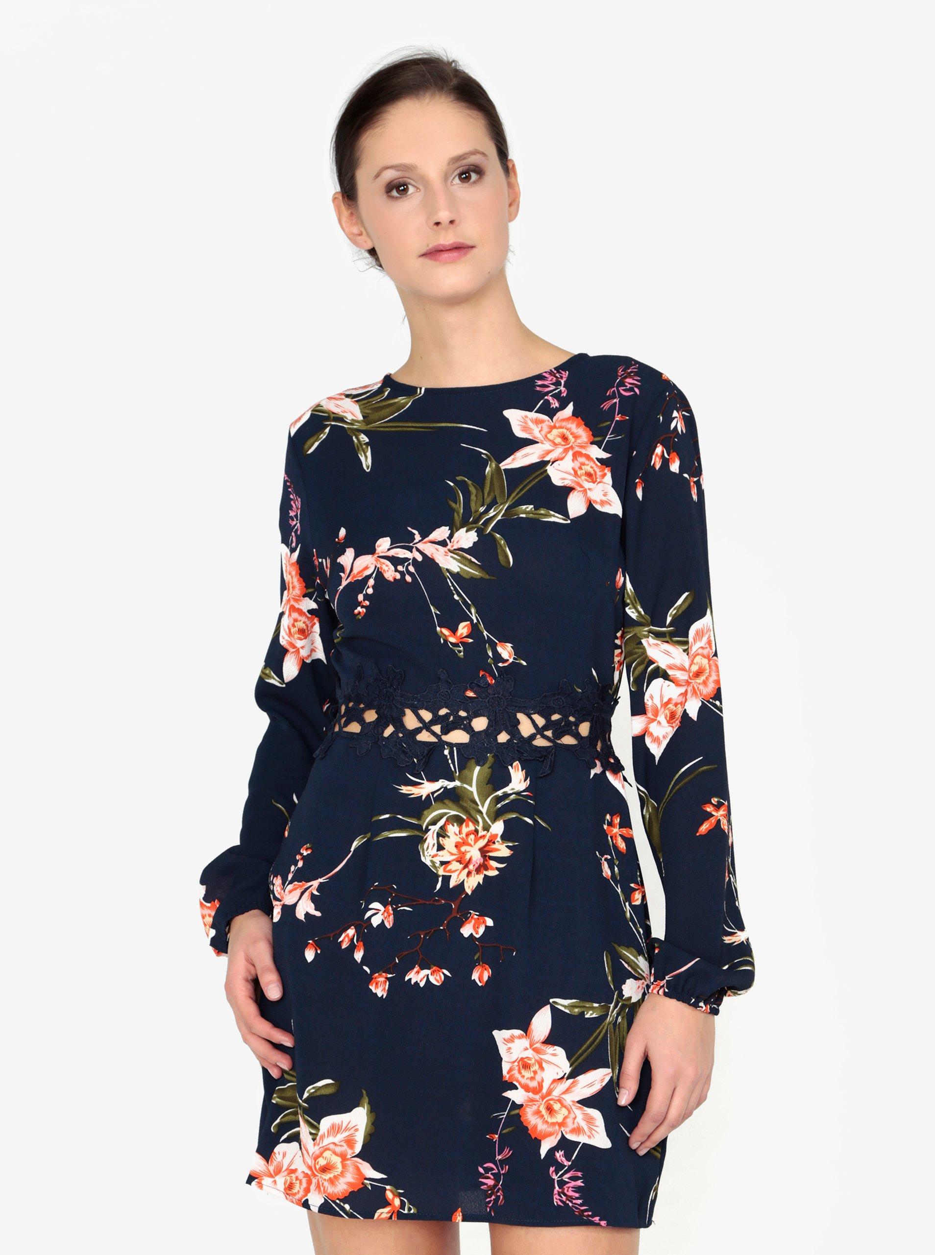 3c68b1ada709 Tmavomodré kvetované šaty s čipkou v páse AX Paris