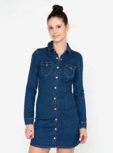 Modré rifľové košeľové minišaty MISSGUIDED