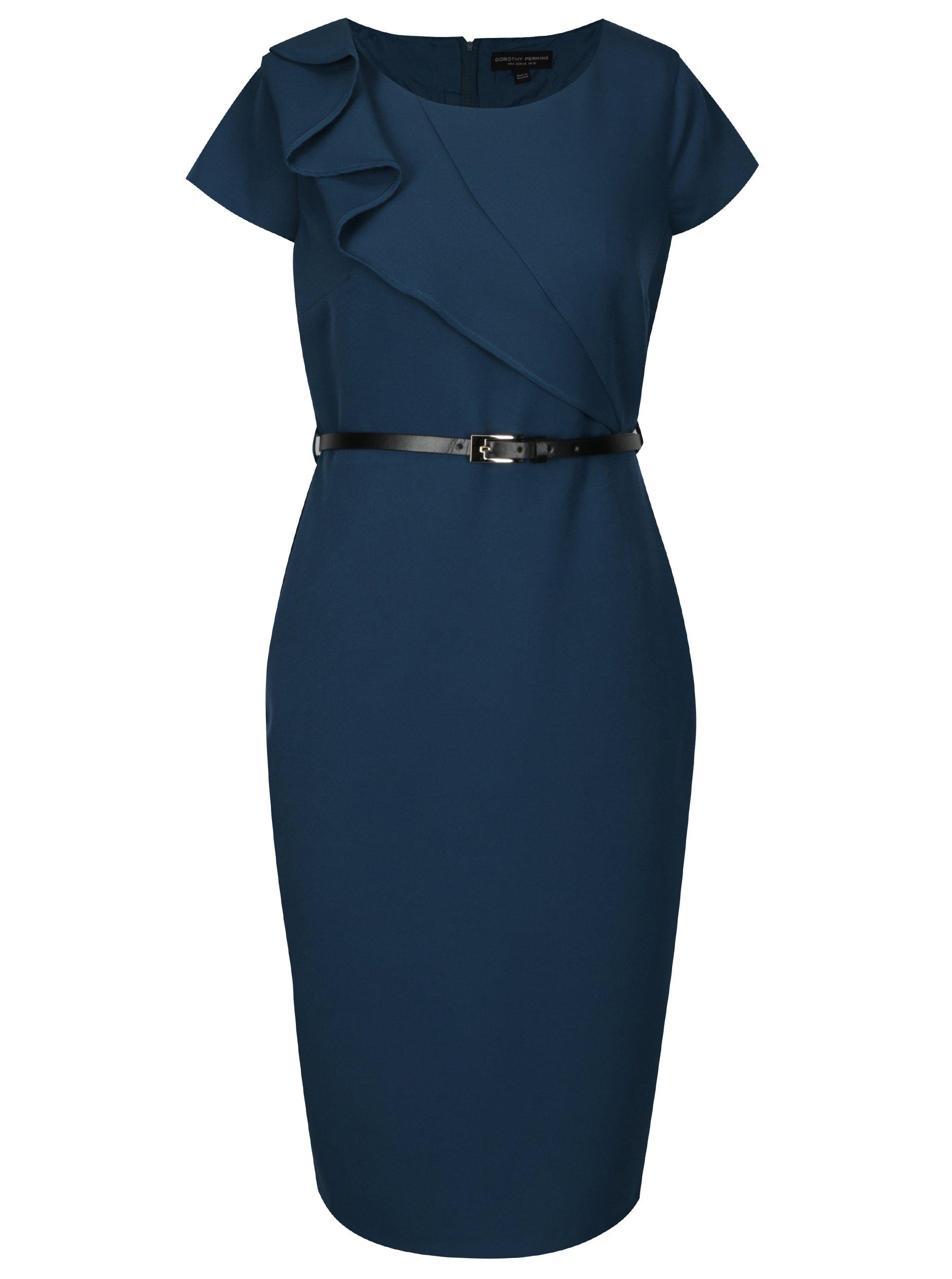 130251d1ba58 Tmavozelené puzdrové šaty s opaskom Dorothy Perkins