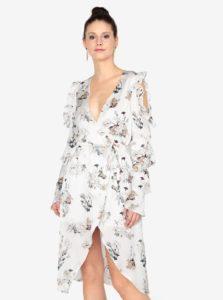Krémové šaty s volánmi a opaskom MISSGUIDED