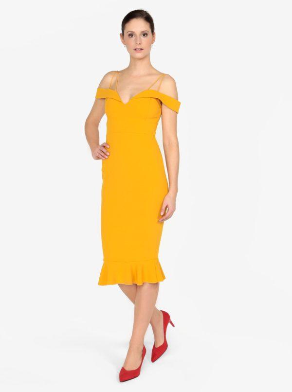 Horčicové puzdrové šaty s odhalenými ramenami AX Paris  04860b9fb12