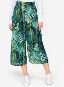 Zelené vzorované skrátené culottes nohavice s vysokým pásom MISSGUIDED