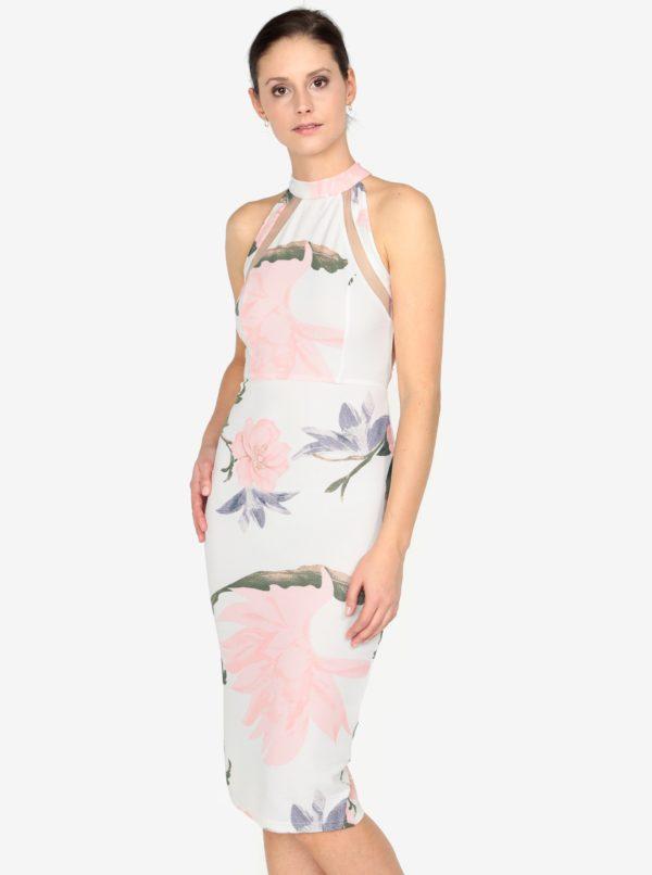 Krémové kvetované puzdrové šaty s prestrihmi na chrbte AX Paris