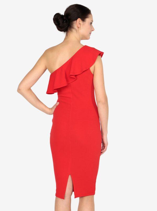 Červené asymetrické šaty s volánom AX Paris